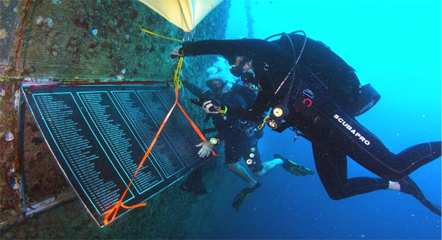 Divers Install Plaque to Mark 15th Anniversary of Spiegel Grove Artificial Reef